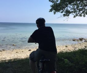 Bike along beautiful coastline on island of Møn Denmark