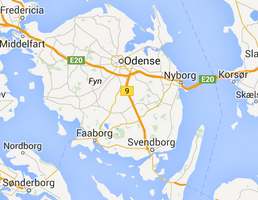 Map of Funen, Denmark
